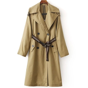 Khaki Double Breasted Trench Coat With Belt
