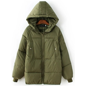 Army Green Zipper Hooded Padded Coat
