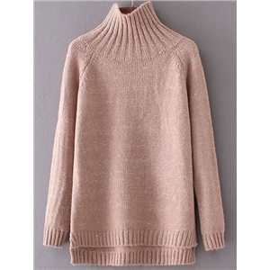 Khaki Turtleneck Raglan Sleeve  Sweater