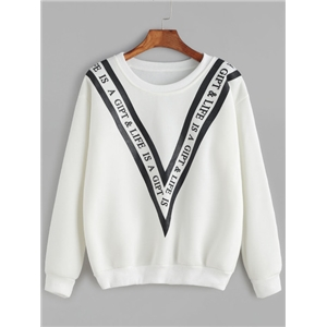 White Letter Print Dropped Shoulder Sweatshirt