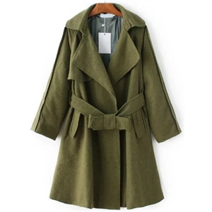 Army Green Lapel Seam Coat With Belt
