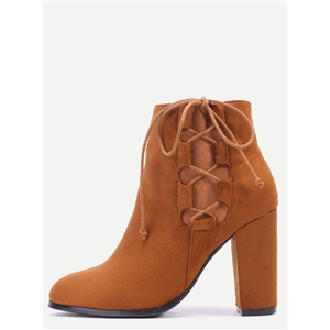 Camel Faux Suede Lace Up Side Short Boots