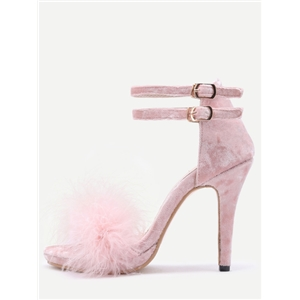 Pink Feather Embellished Ankle Strap Stiletto Velvet Sandals