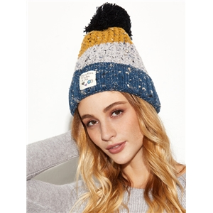 Blue Colorblock Marled Pom Pom Applique Knit Hat