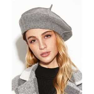 Grey Stylish Soft Beret Hat For Women