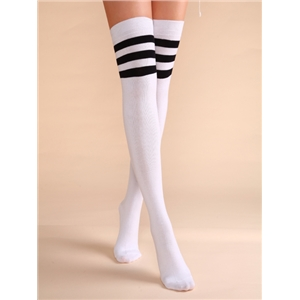 White Stripe Trim Varsity Over The Knee Socks