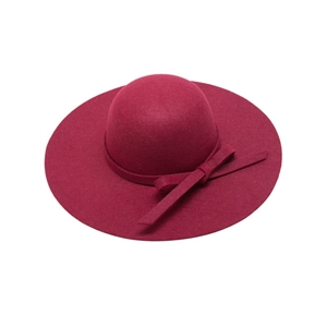 Burgundy Bow Trim Wide Brimmed Felt Hat