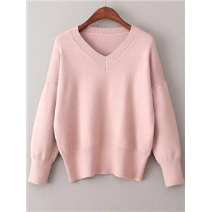Pink V Neck Ribbed Trim Sweater