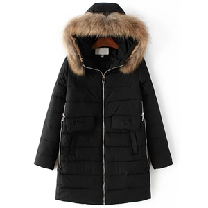 Black Zipper Detail Padded Coat With Faux Fur Hooded