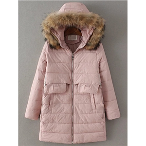 Pink Zipper Detail Padded Coat With Faux Fur Hooded