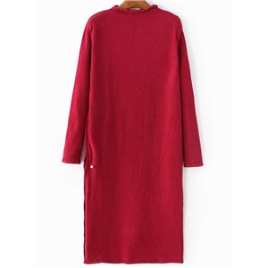 Red Mock Neck Side Slit Knit Dress
