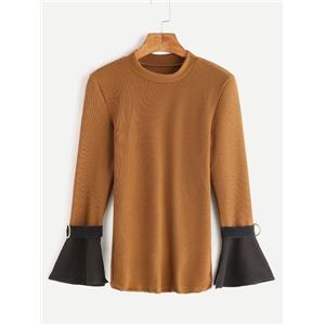 Khaki Contrast Bell Sleeve T-shirt With Belt Cuff