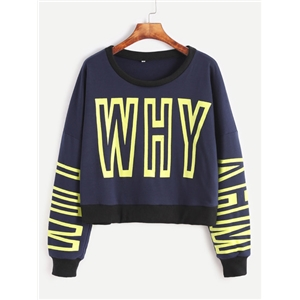 Blue Letter Print Contrast Trim Drop Shoulder Sweatshirt