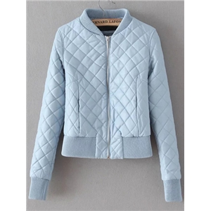Blue Zipper Quilted Diamond PU Jacket
