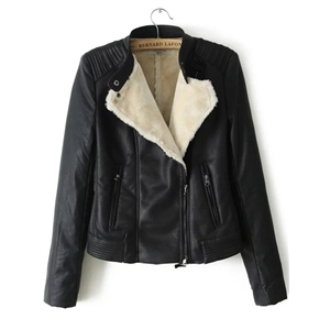 Black Oblique Zipper PU Jacket With Faux Shearling Lining