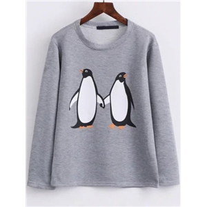 Grey Penguin Print Cute Sweatshirt