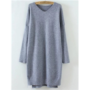 Grey V Neck Drop Shoulder Dip Hem Sweater Dress