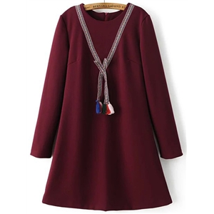 Burgundy Tassel Detail Back Zipper Dress