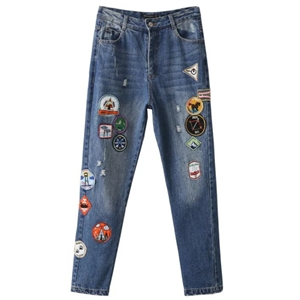 Blue Patch Embroidery Skinny Jeans