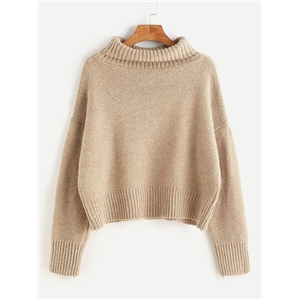 Khaki Turtleneck Dropped Shoulder Seam Sweater