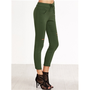 Green Ripped Drawstring Waist Skinny Leggings