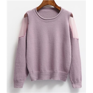 Long-sleeved Gauze Stitch Sweater