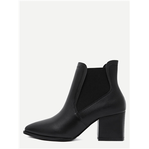 Black Point Toe Square Heel Chelsea Boots