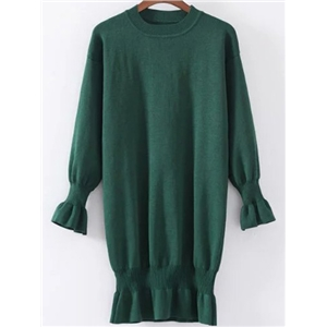 Dark Green Ruffle Detail Ribbed Trim Knit Dress