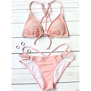 Pink Triangle Tie Front Cut Out Bikini Set