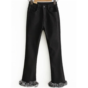 Black Faux Fur Cuff Pants