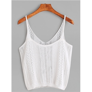 White Hollow Out Crop Cami Top