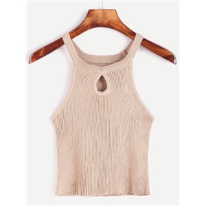 Light Khaki Tear Drop Hollow Ribbed Top