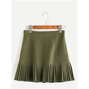 Army Green Pleated Hem Skirt With Zipper