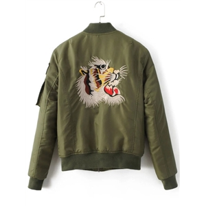 Army Green Tiger Embroidery Zipper Up Flight Jacket