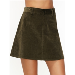 Army Green Corduroy Pockets A Line Skirt