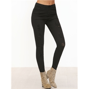 Black Ripped Front Skinny Jeans
