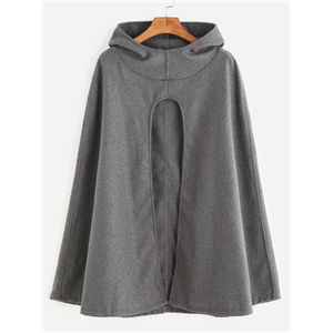 Grey Slit Front Hooded Poncho Coat