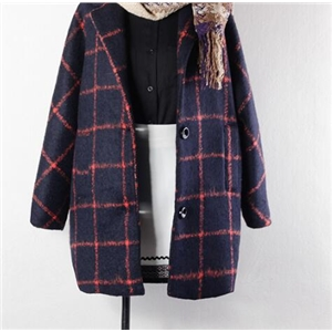 Large Plaid Woolen Coat