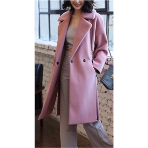 Pink Simple Design Long Section Woolen Coat
