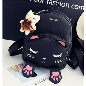 Embroidered Cat Backpack School Bag