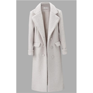 White Long Section Woolen Coat