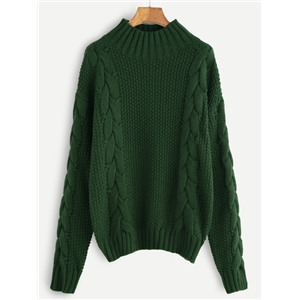 Green Cable Knit Turtleneck Sweater