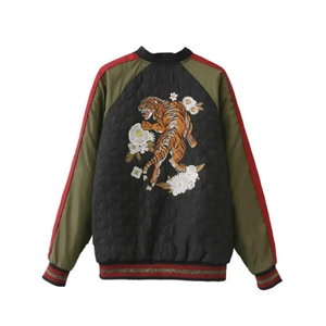 Color Block Tiger Embroidery Raglan Sleeve Jacket
