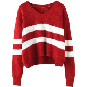 V Neck Striped Wine Red Sweater
