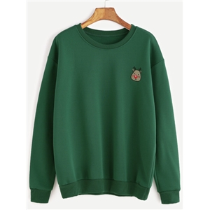 Green Cartoon Deer Embroidery Sweatshirt