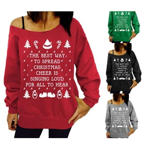 2016 Winter Fleece Merry Christmas Pullover Women Fashion Pattern Print Off Shoulder Hoodie Womens Christmas Clothes