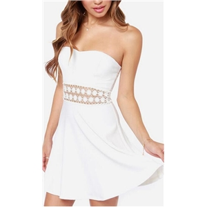 2017 Spring/summer white strapless dress