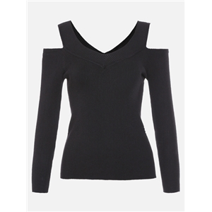 Black Open Shoulder Ribbed Tight Knitwear