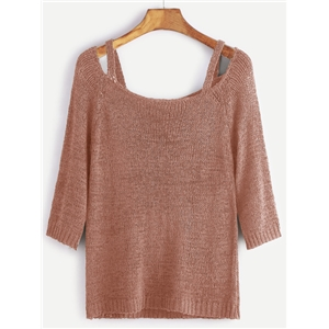 Pink Cut Out Scoop Neck Sweater