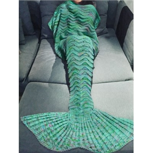 Comfortable Multicolor Knitted Mermaid Tail Design Blanket